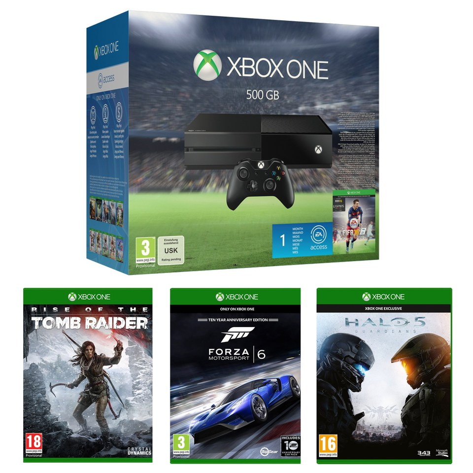 Xbox One 500GB With FIFA 16, Halo 5, Forza 6 & Rise of the Tomb Raider