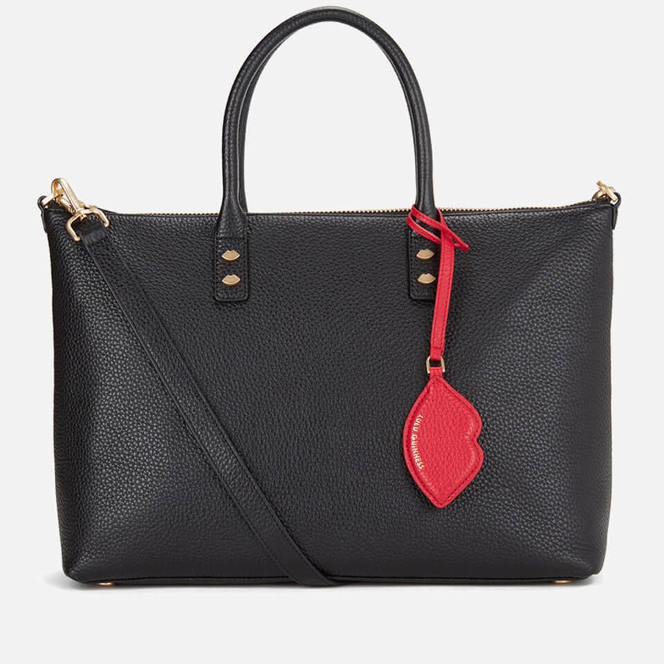 fdc7414bcb31d2 ... Lulu Guinness Women's Frances Medium Tote Bag with Lip Charm - Black