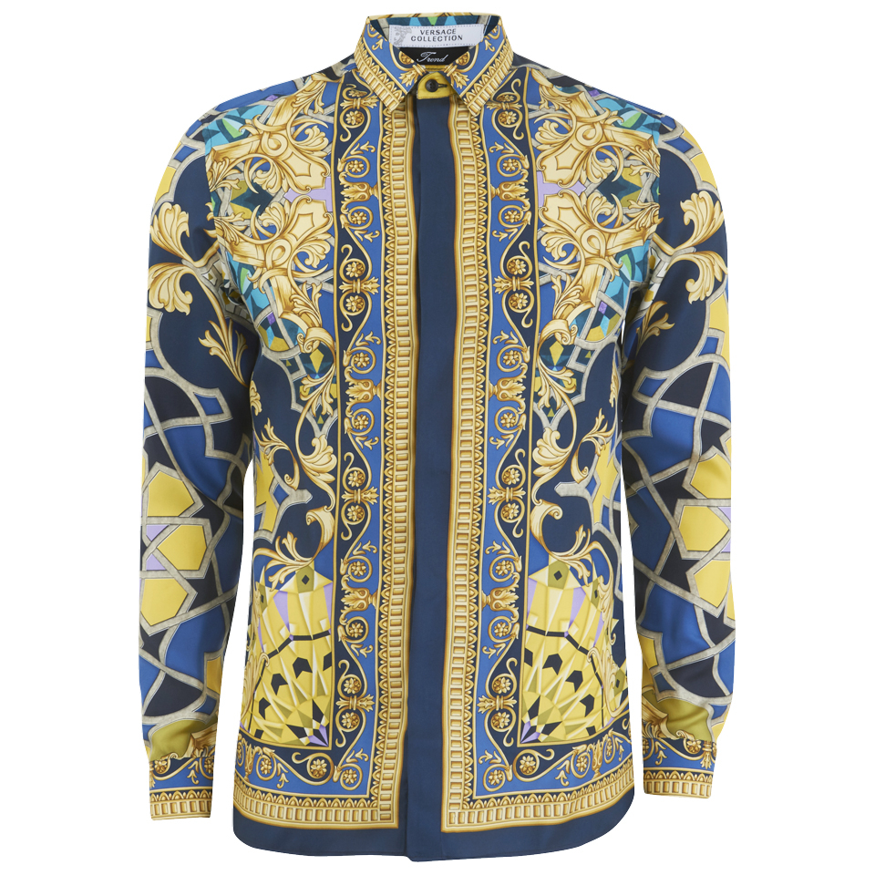 ecb50766a34ca Versace Collection Men s Silk Printed Shirt - Blue - Free UK ...