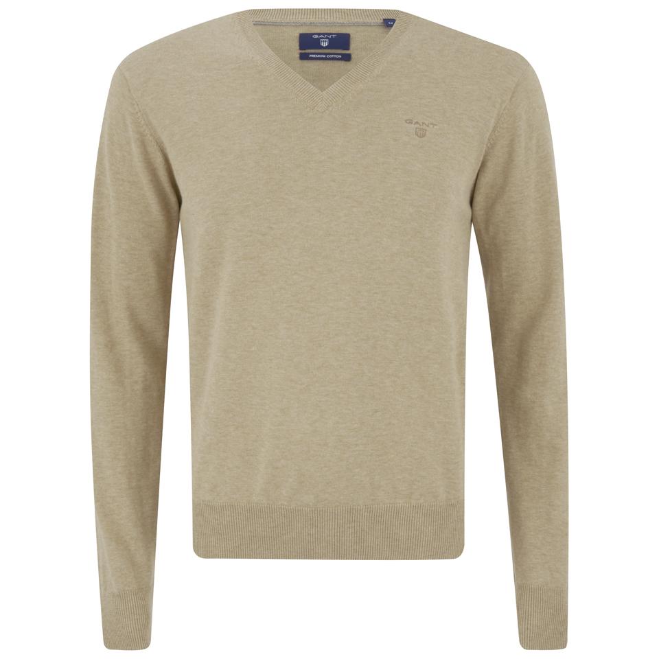 2b971a6295f67d GANT Men's Light Weight Cotton V Neck Jumper - Sand Melange Mens ...