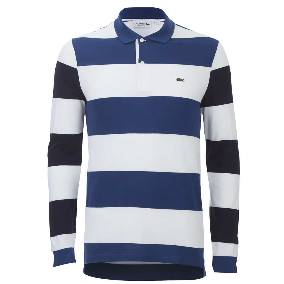 05554d06fb Lacoste Men's Long Sleeve Striped Polo Shirt - Blue