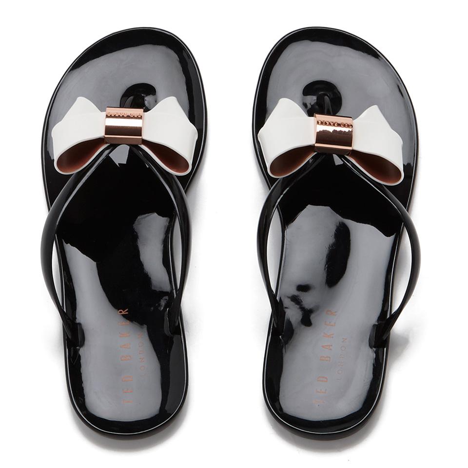 27da7a419 Ted Baker Women s Ettiea Jelly Bow Flip Flops - Black Cream