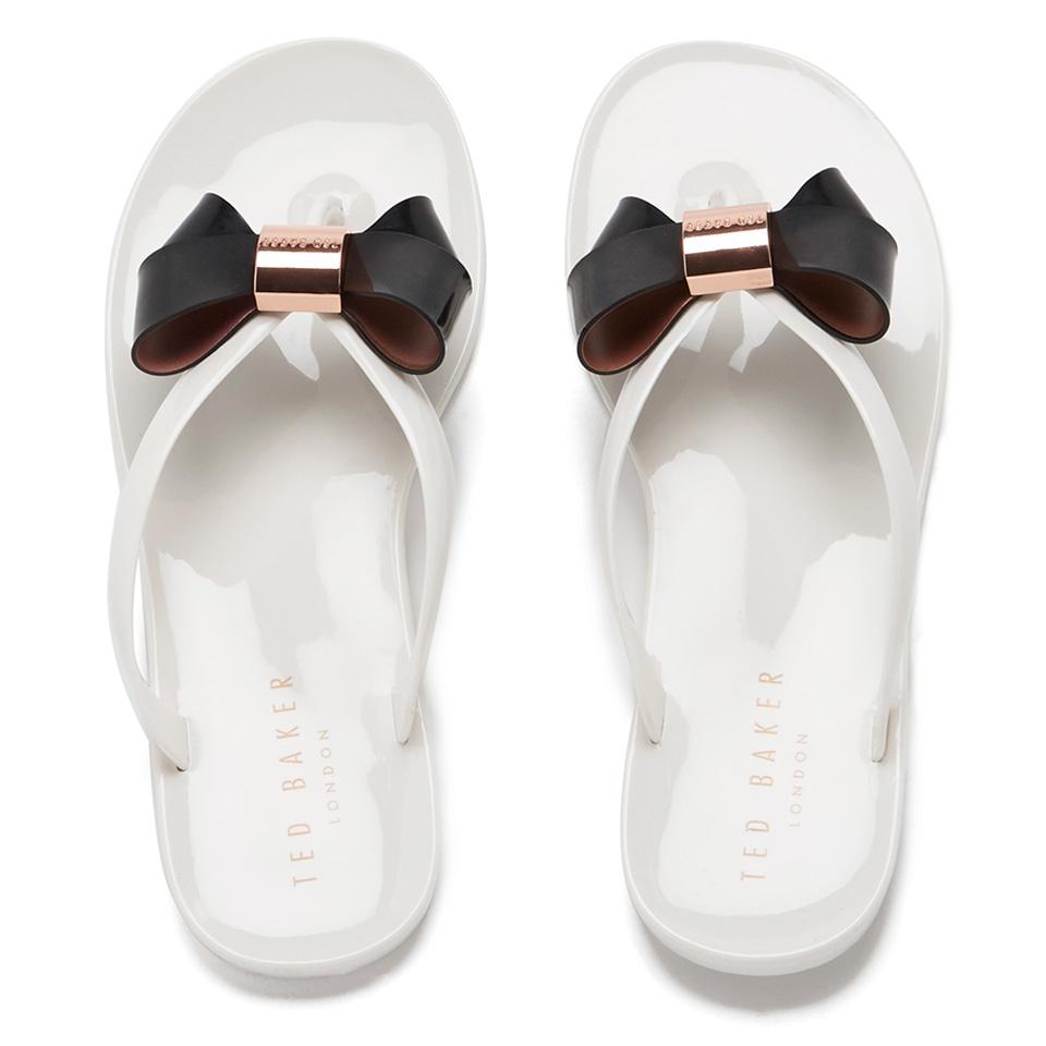 53ebdee597fc Ted Baker Women s Ettiea Jelly Bow Flip Flops - Cream Black