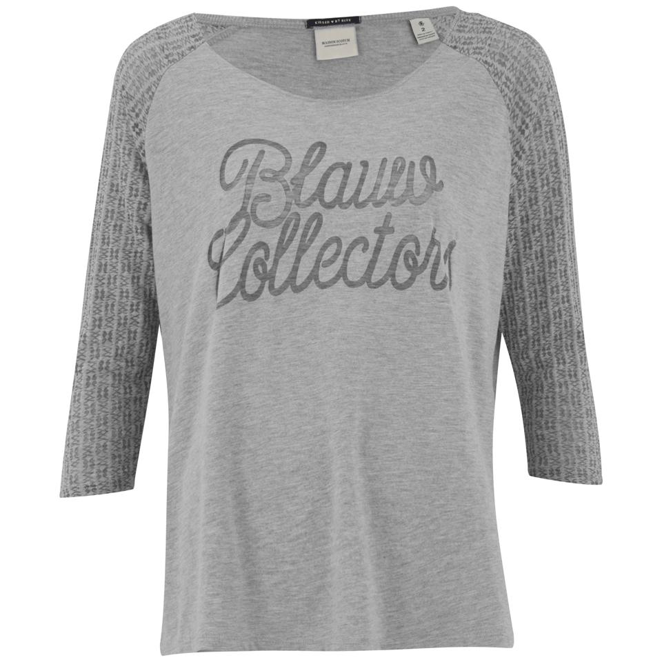 56aaef6ec3f16 ... Maison Scotch Women's 3/4 Sleeve Logo T-Shirt with Logo Burnout Artwork  -