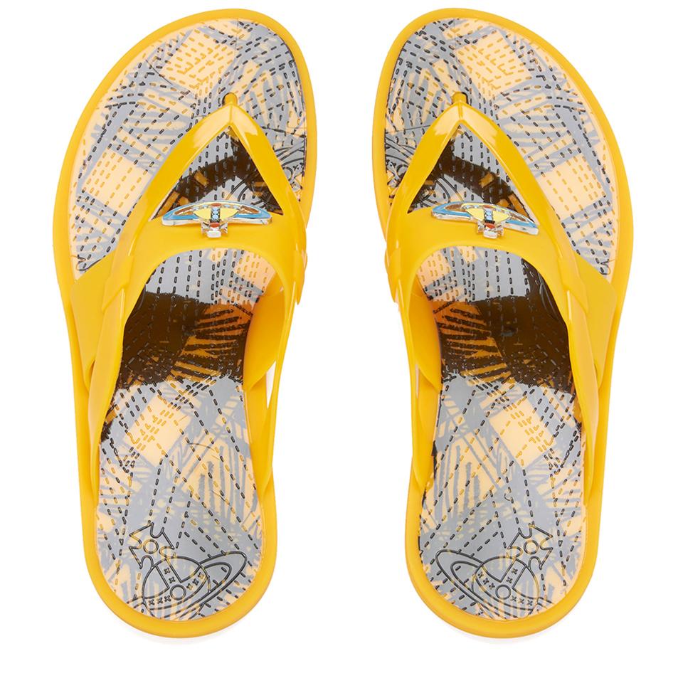 c551e2a5489 Vivienne Westwood MAN Men's Enamelled Orb Flip Flops - Maizie Yellow - Free  UK Delivery over £50