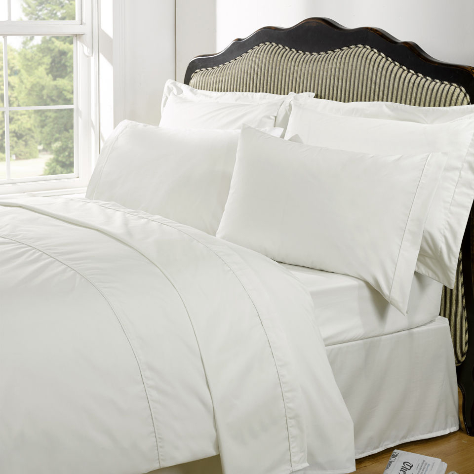 Highams 100% Egyptian Cotton Plain Dyed Bedding Set - Cream [China Sizing Only]
