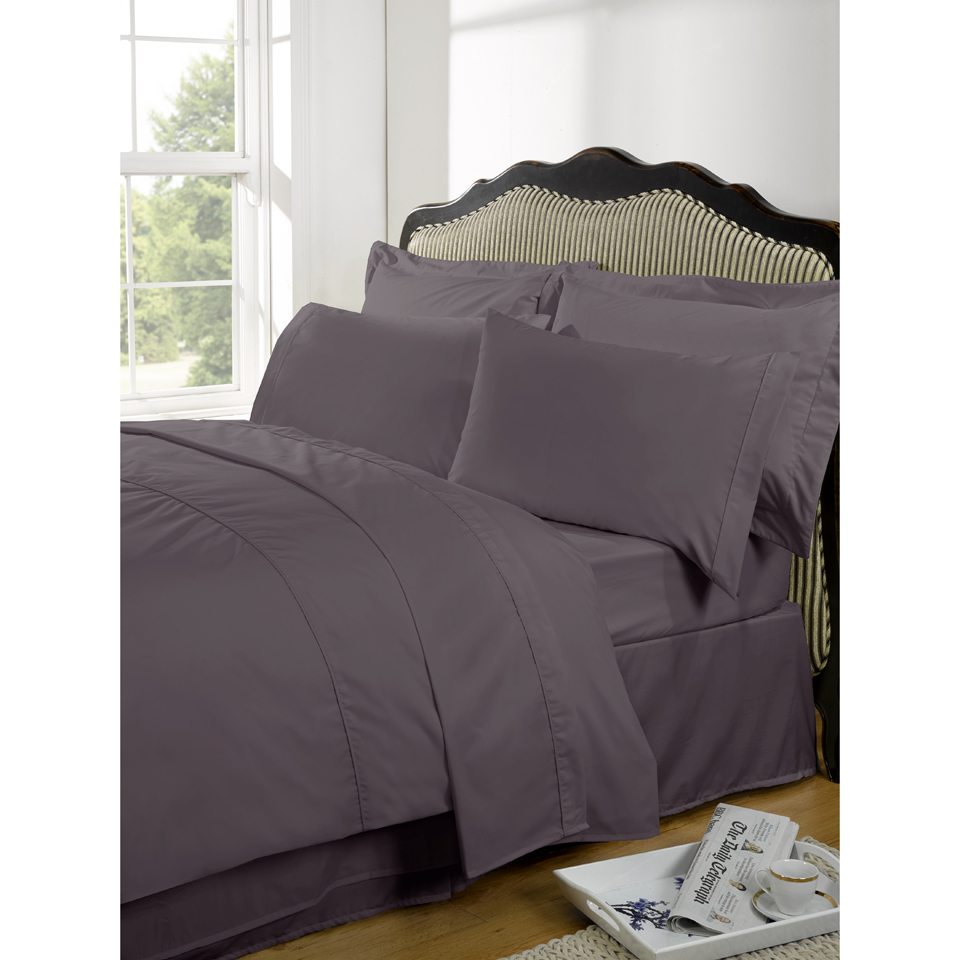 Highams 100% Egyptian Cotton Plain Dyed Bedding Set - Vintage Mauve [China Sizing Only]