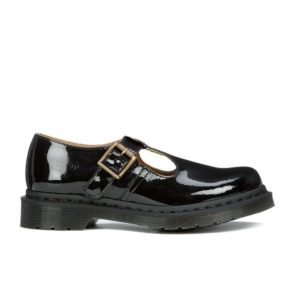 5d8afe6767 ... Dr. Martens Women s Polley Patent Lamper T Bar Flat Shoes - Black  Patent Lamper
