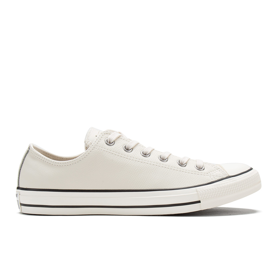 54815a6a8f9794 Converse Men s Chuck Taylor All Star Motorcycle Leather Ox Trainers -  Parchment Black White - Free UK Delivery over £50