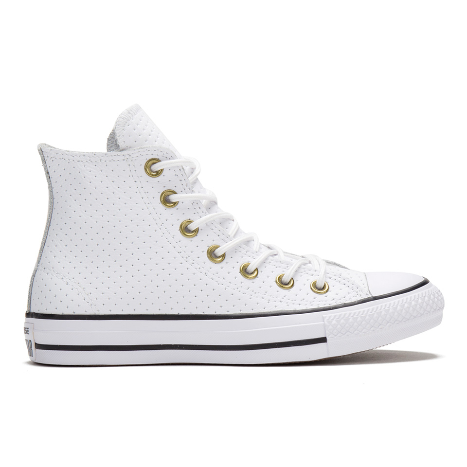 eac8941065e4eb ... Converse Women s Chuck Taylor All Star Perforated Leather Hi-Top  Trainers - White Biscuit