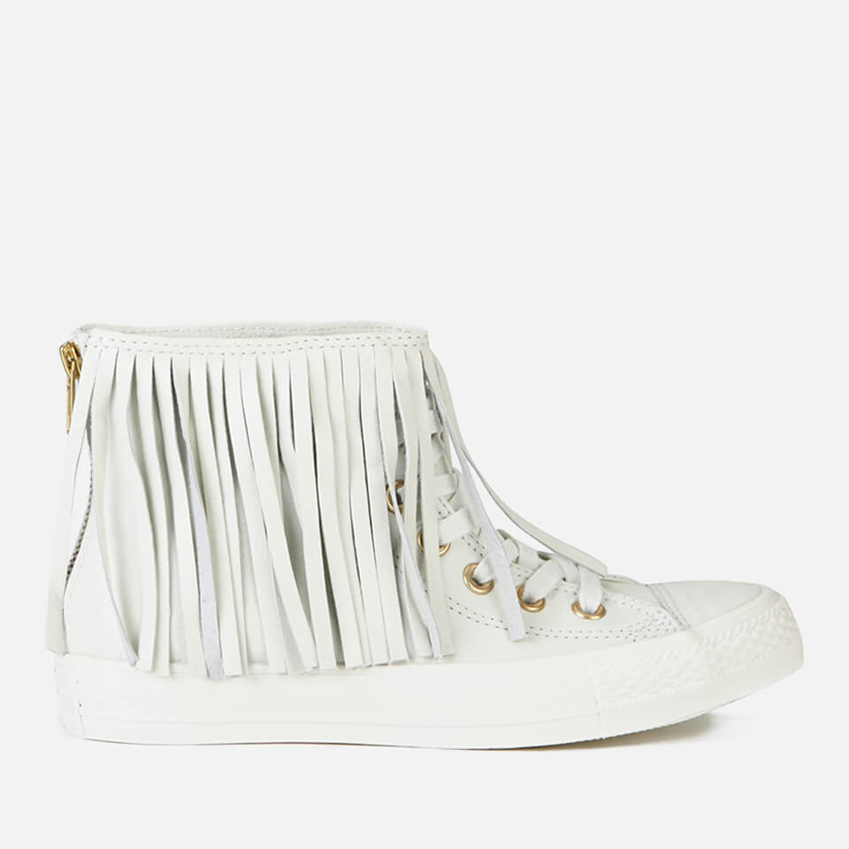 5a28aa486f41 ... Converse Women s Chuck Taylor All Star Premium Leather Fringe Hi-Top  Trainers - Egret