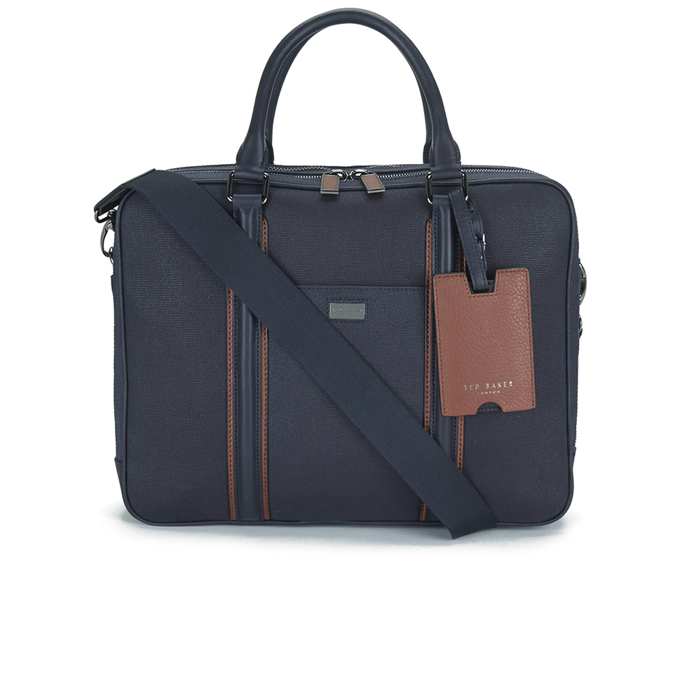 Ted baker men39s snowdor canvas and leather document bag navy for Ted baker london leather document bag