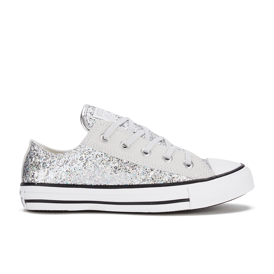 professional sale in stock for whole family Converse Women's Chuck Taylor Textile Glitter OX Trainers -  Silver/Mouse/White