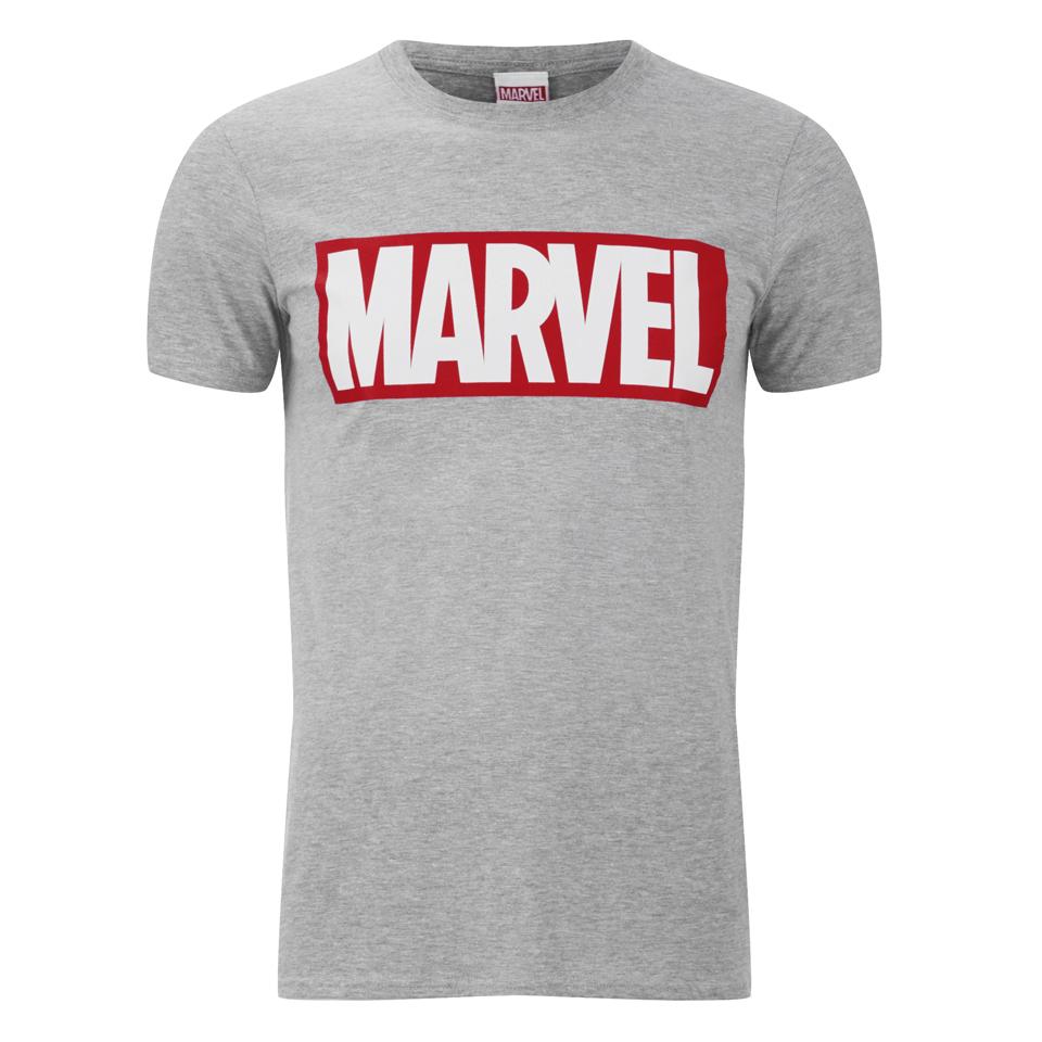 camiseta marvel comics logo hombre gris merchandise. Black Bedroom Furniture Sets. Home Design Ideas