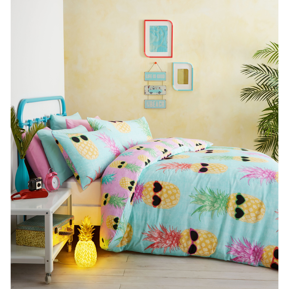 catherine lansfield funky pineapple bedding set multi iwoot