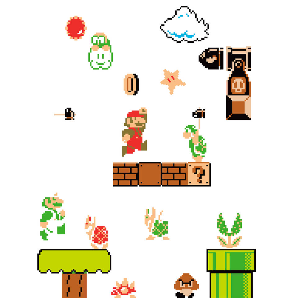 super mario bros wall stickers nintendo uk store nintendo 45 piece super mario wall decal wayfair