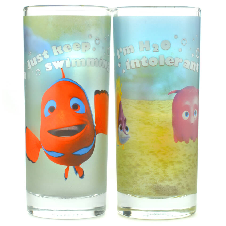 Disney Finding Nemo Just Keep Swimming Set of 2 Glasses