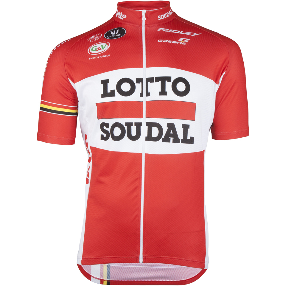 7a3a8b6f7 Lotto Soudal Short Sleeve Long Zip Jersey 2016 - Red White ...
