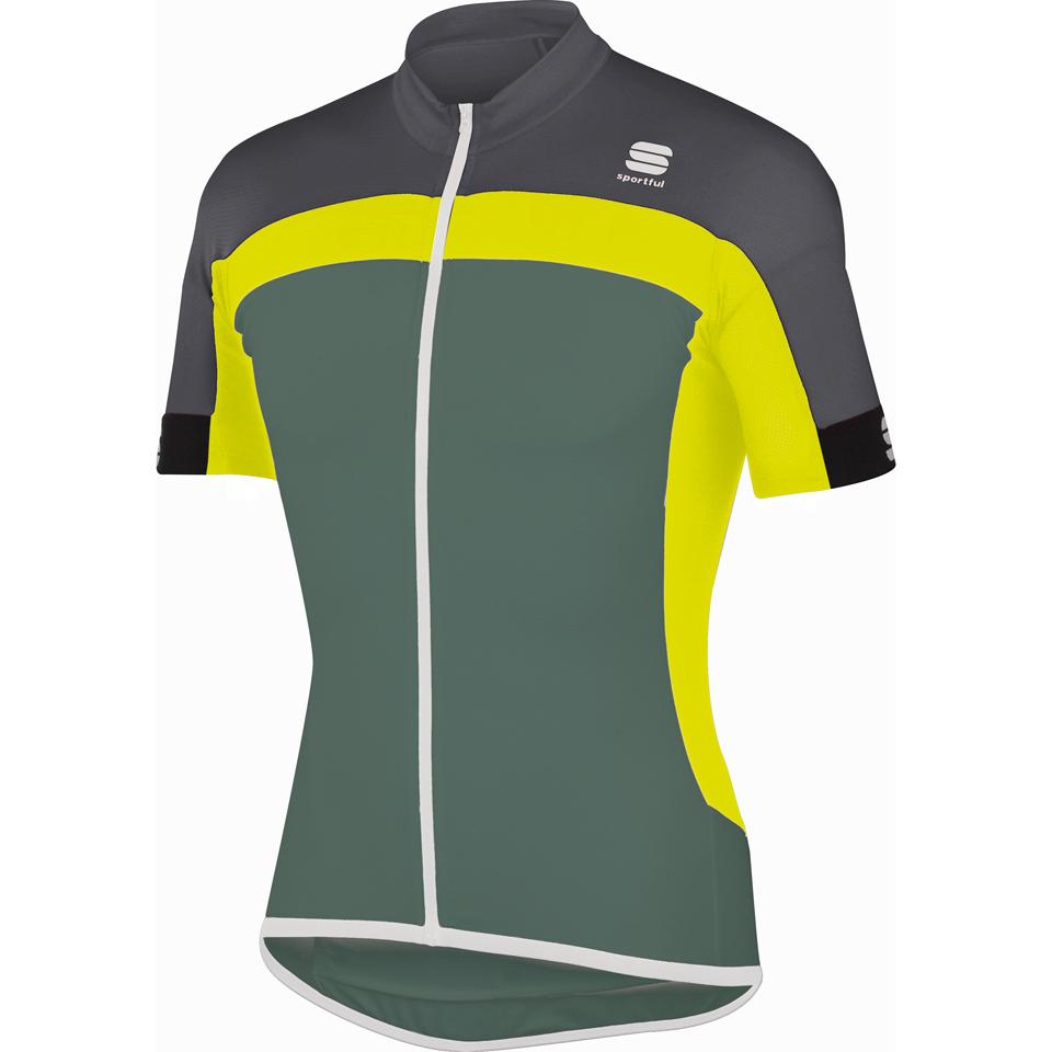 Sportful Pista Short Sleeve Jersey - Green Yellow Grey  e8f53d89a
