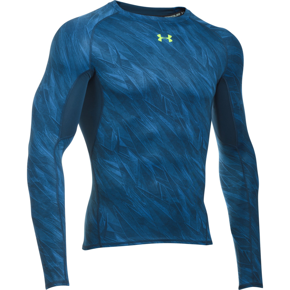 Under armour men 39 s heatgear armour long sleeve compression for Black and blue long sleeve shirt