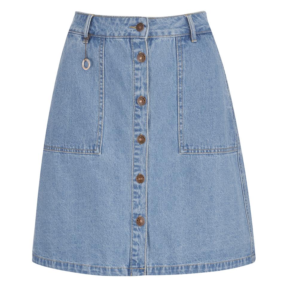 52e3a8e912 ONLY Women's Farrah A-Line Denim Skirt- Light Blue Denim Womens ...