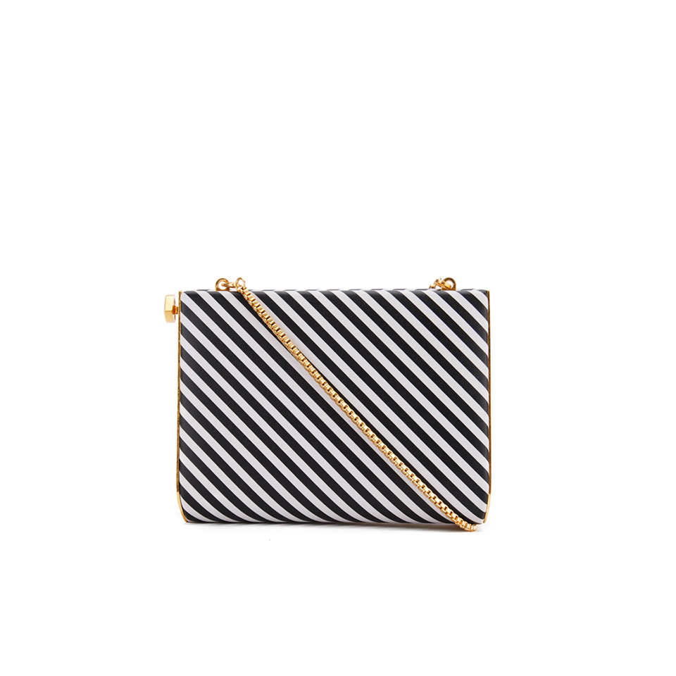 758c103ec6f412 ... Lulu Guinness Women s Karlie Leather Striped Clutch with Lip Closure -  Black White