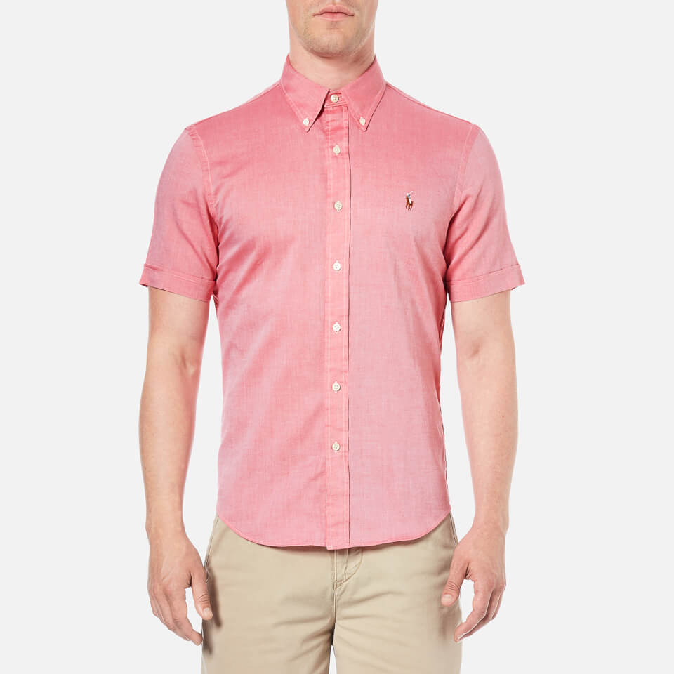 Polo Ralph Lauren Menu0026#39;s Short Sleeve Oxford Shirt - Spanish Red - Free UK Delivery over u00a350