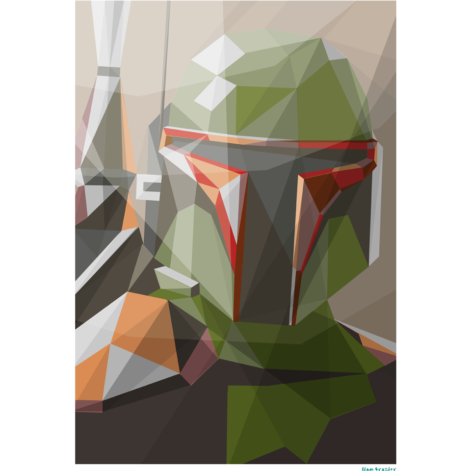Star Wars Bounty Hunter Inspired Art Print - 11.7 x 16.5 Inches