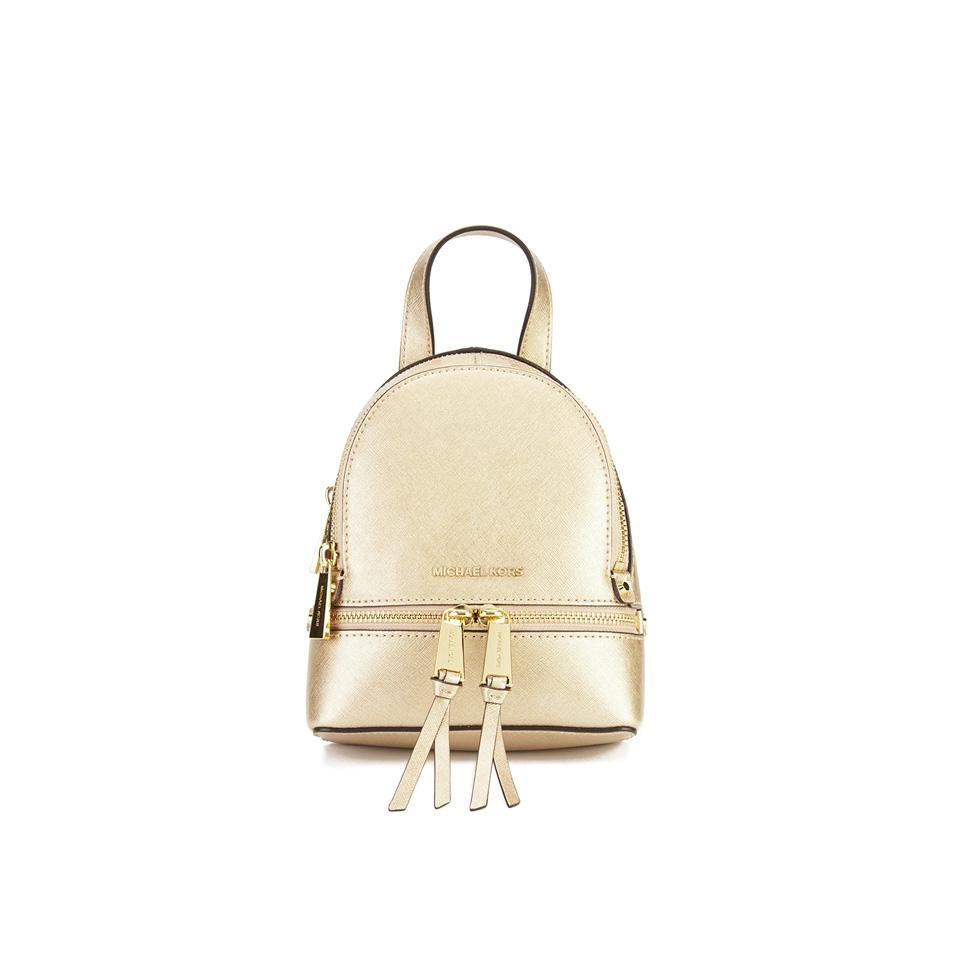 e6584cd2aa90 MICHAEL MICHAEL KORS Rhea Zip Small Crossbody Backpack - Gold - Free ...