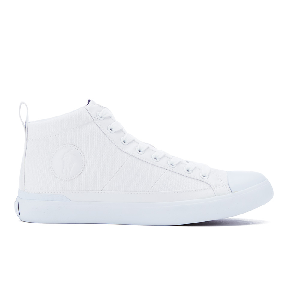 Polo Ralph Lauren Men's Clarke Canvas Hi-Top Trainers - Pure White | FREE  UK Delivery | Allsole
