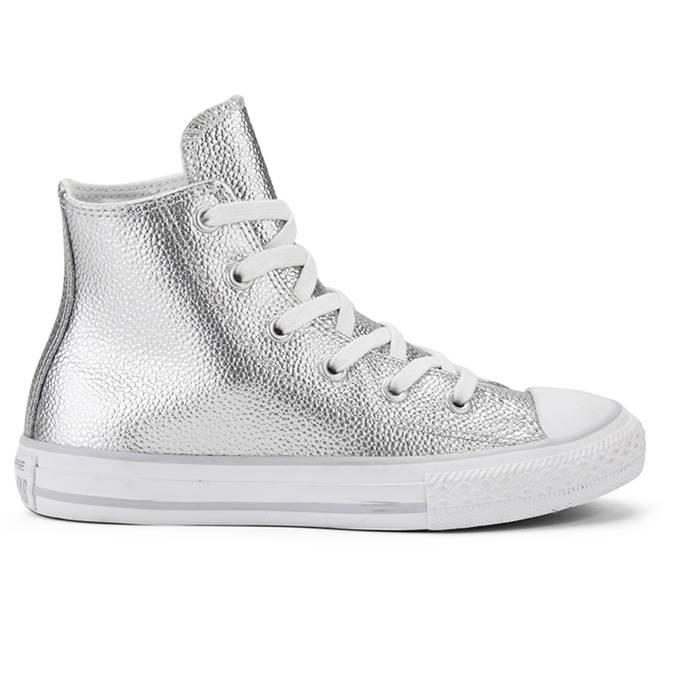 converse chuck taylor all star metallic leather trainers in silver