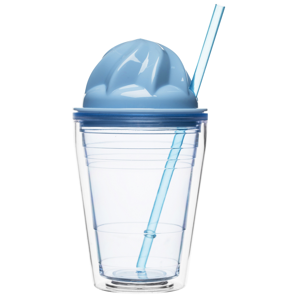 Sagaform Sweet Plastic Milkshake Cup 350ml Blue Iwoot