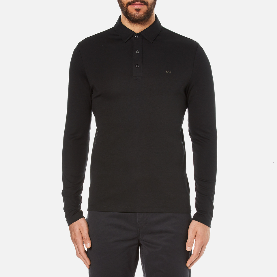 Michael kors men 39 s long sleeve sleek mk polo top black for Best mens dress shirts under 50