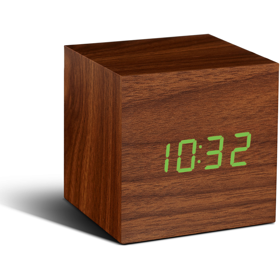 Gingko Cube Click Clock - Walnut