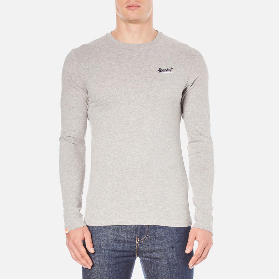 superdry s orange label sleeve top grey marl