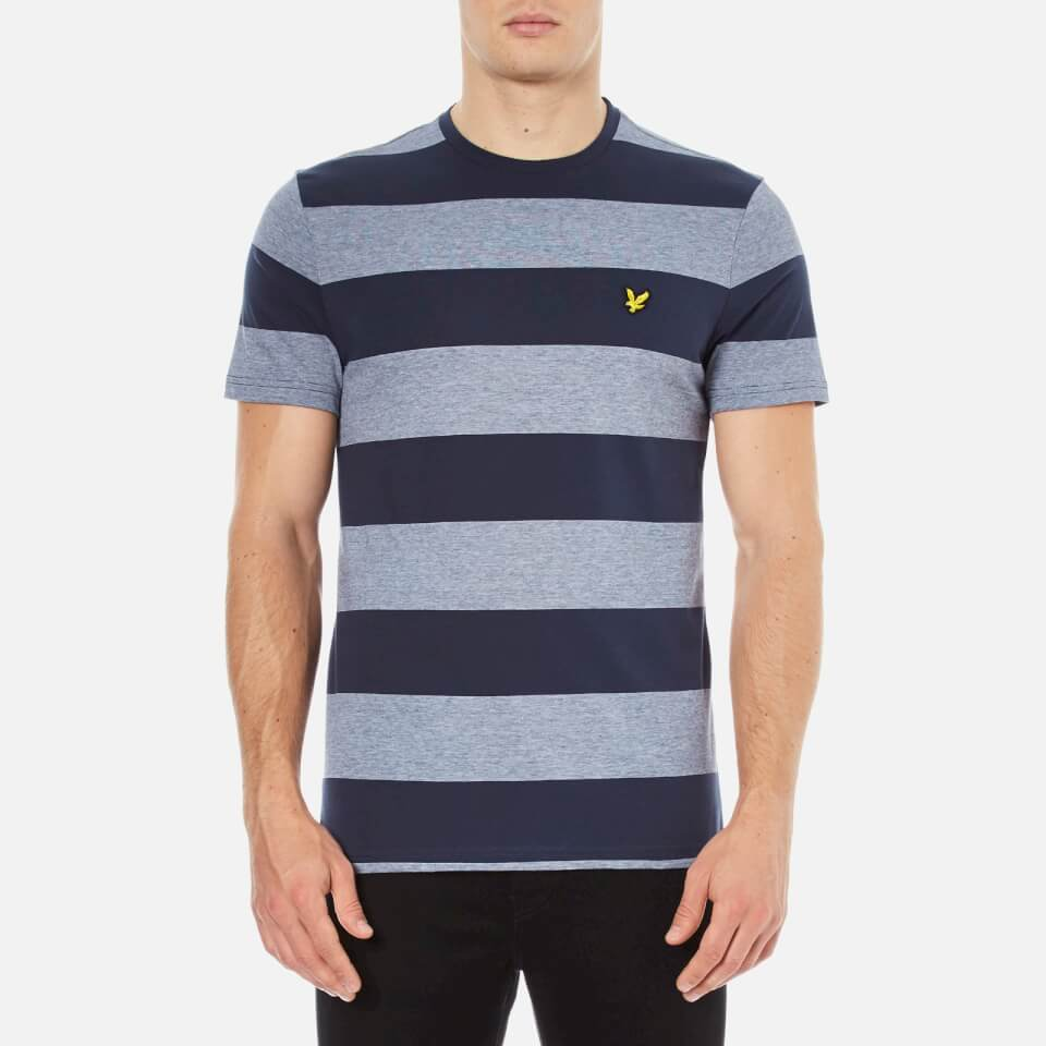 lyle scott men 39 s crew neck wide stripe t shirt navy
