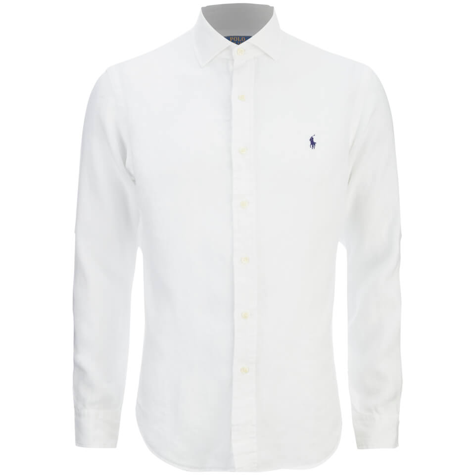 Polo ralph lauren men 39 s slim fit long sleeve linen shirt for Mens long sleeve white t shirt