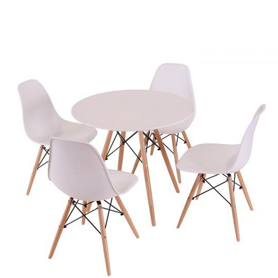 Scandinavian eiffel table and 4 chairs set white iwoot for Kitchen set scandinavian