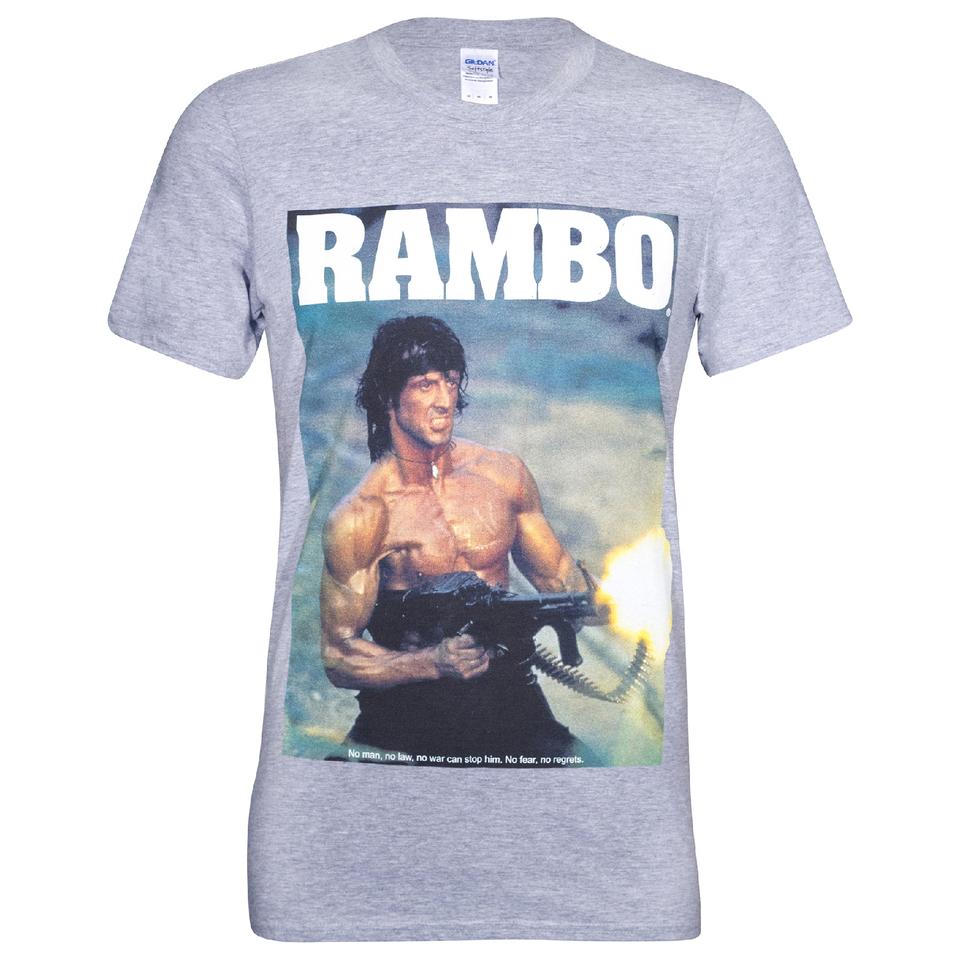 Rambo Men's Gun T-Shirt - Grey Merchandise
