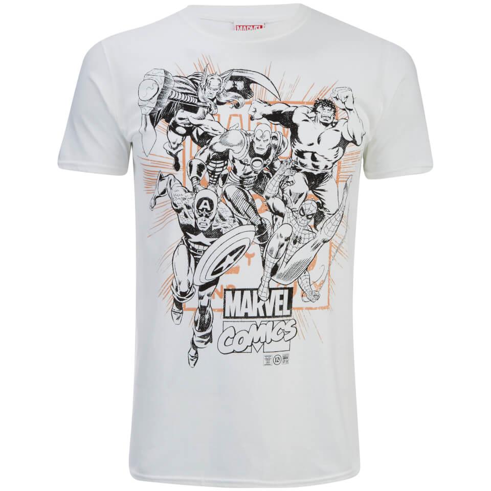 Marvel Men S Band Of Heroes T Shirt White Merchandise