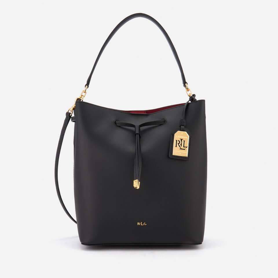 4188114ede44 Lauren Ralph Lauren Women s Dryden Debby Drawstring Bucket Bag - Black Crimson  - Free UK Delivery over £50