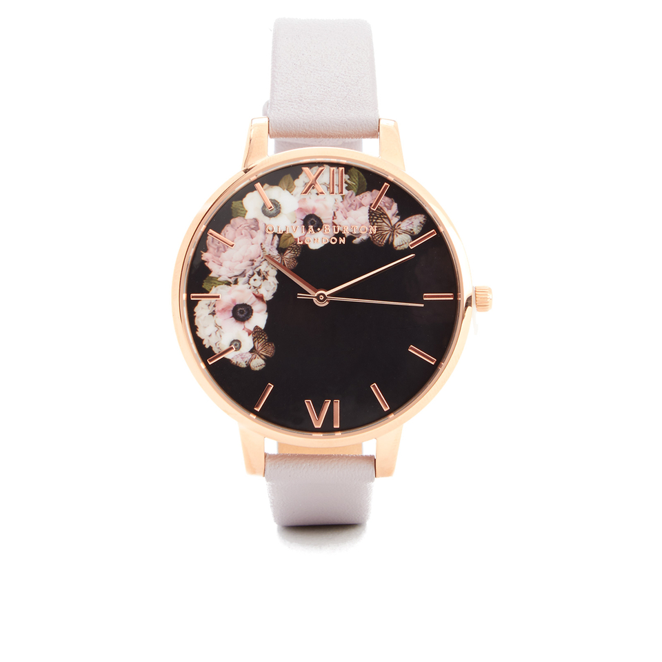 Olivia burton women 39 s winter garden watch grey lilac rose gold for Winter watches