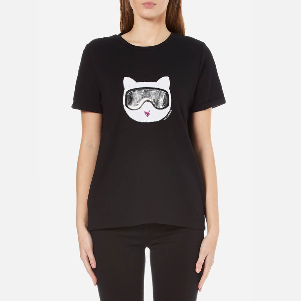 karl lagerfeld women 39 s furry winter choupette t shirt black. Black Bedroom Furniture Sets. Home Design Ideas
