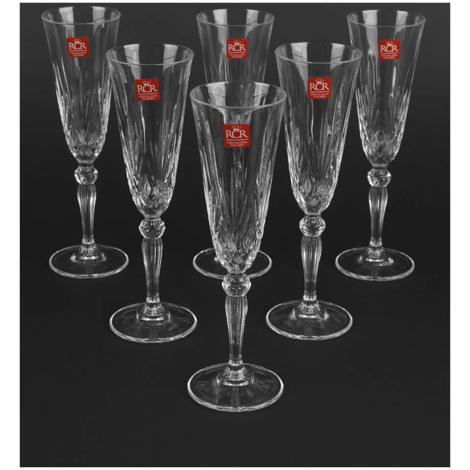 Rcr crystal melodia champagne flutes wine glasses set of 6 iwoot - Fluted wine glasses ...