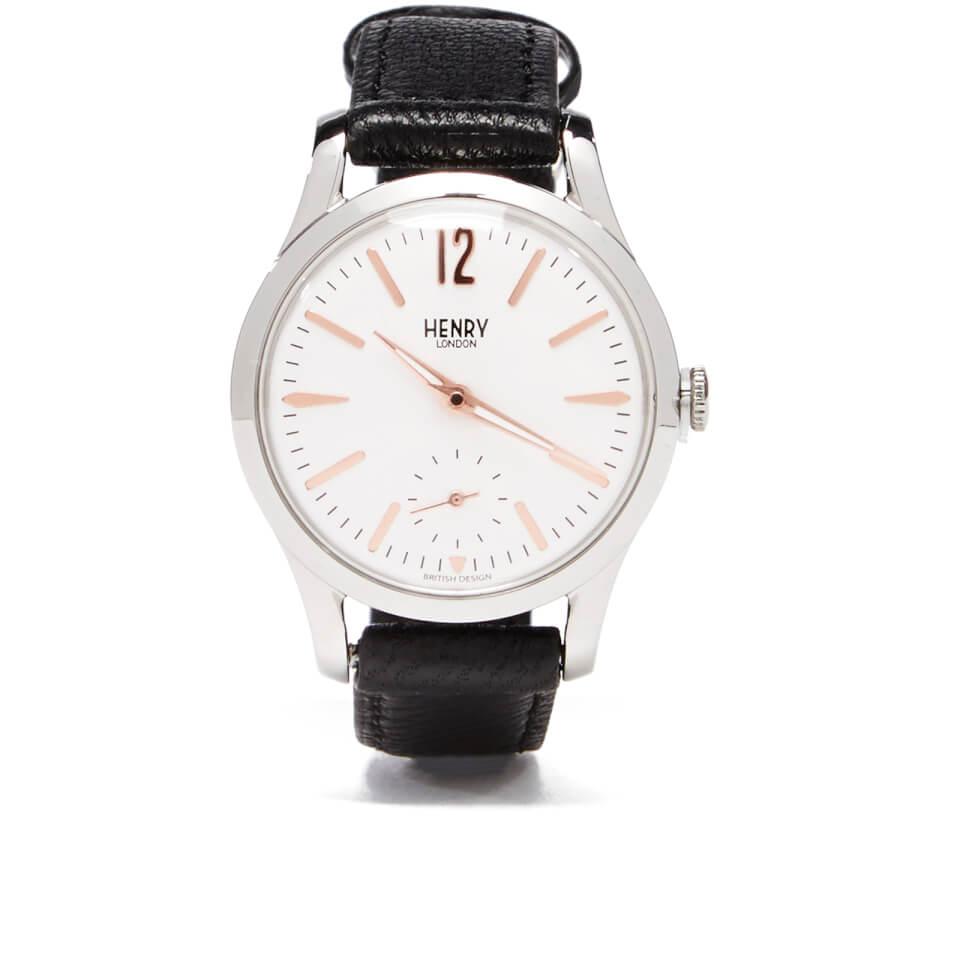Henry London Highgate Leather Watch Black