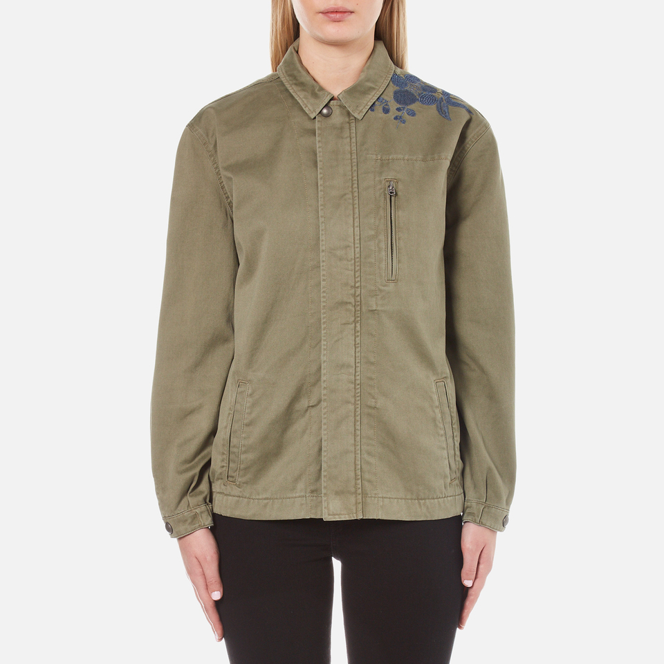 Maison scotch women s army jacket with embroidery