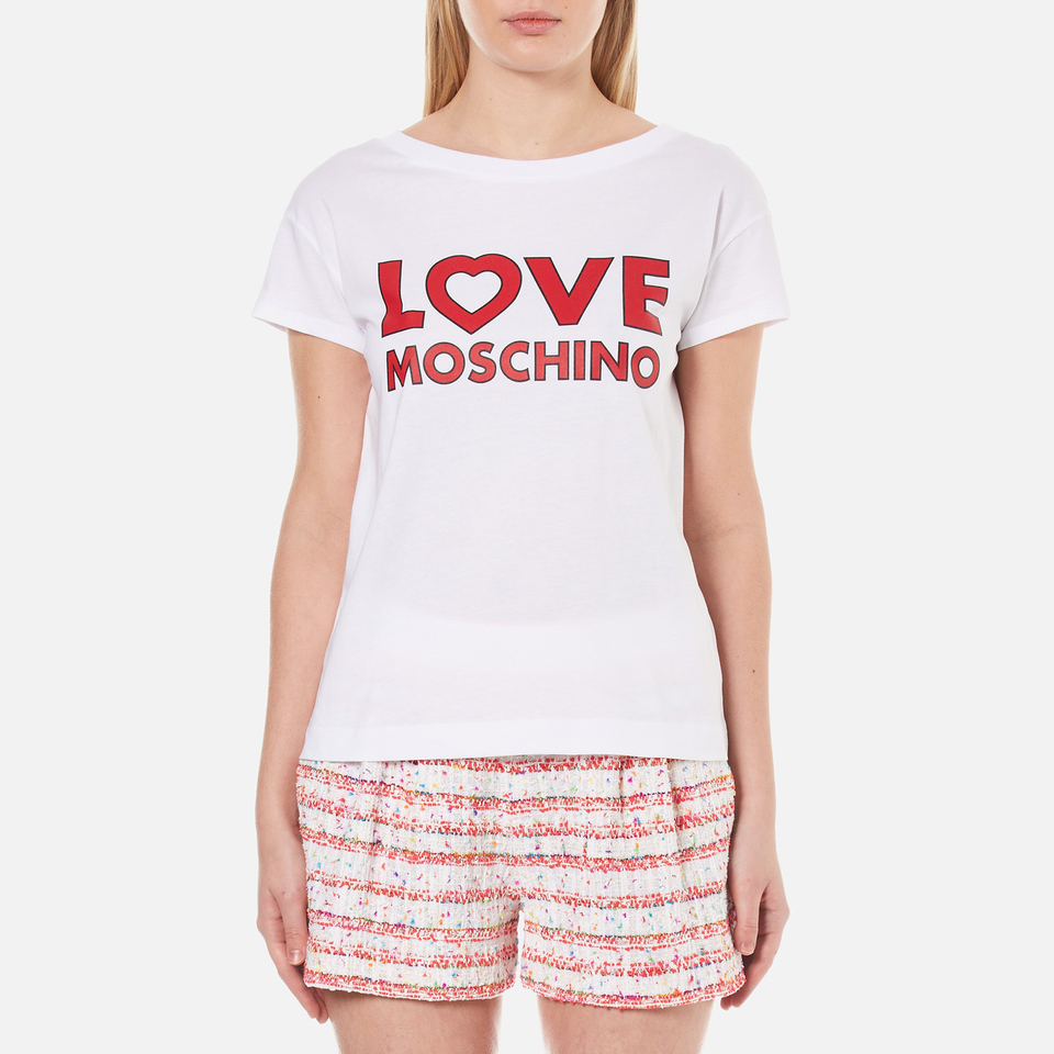 be15affb Love Moschino Women's Love Logo T-Shirt - Optical White - Free UK Delivery  over £50