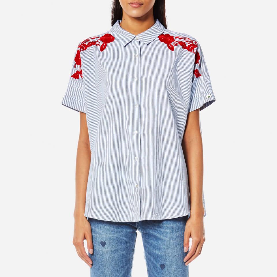 Maison Scotch Women 39 S Boxy Fit Button Up Shirt With