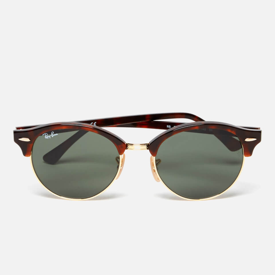Ray-Ban Clubround Flat Lenses Half Metal Frame Sunglasses - Red ...