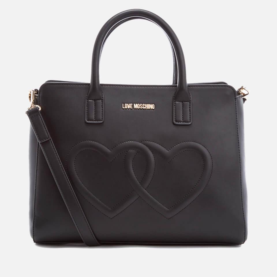 be41a8e5f50f Love Moschino Women s Love Heart Embossed Tote Bag - Black - Free UK ...